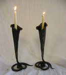 Wrought iron candlesticks Chagford